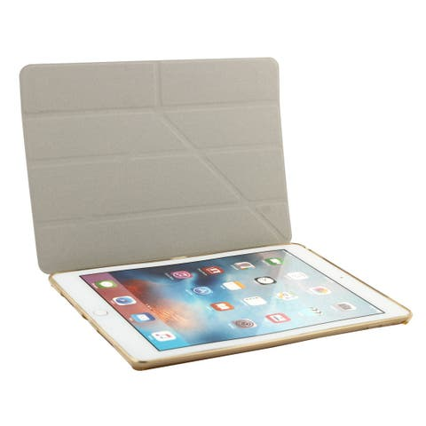 Gold Tone PU Leather Soft Back Foldable Protect Cover Case for iPad Pro 9.7 Inch