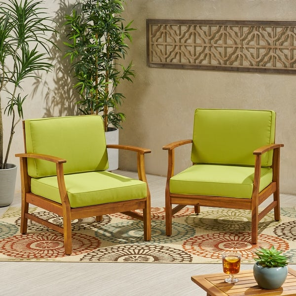 Perla Outdoor Wood Club Chair (Set of 2) by Christopher Knight Home