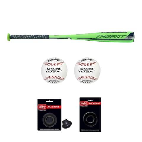 "Rawlings 2019 Threat USA Baseball Bat (28""/16oz) with Accessory Bundle"