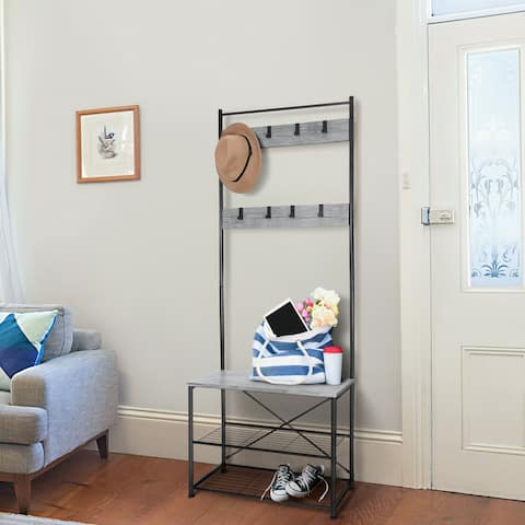 Hall Tree Entryway Bench Shoe Coat Rack Shelves Metal Frame Wood