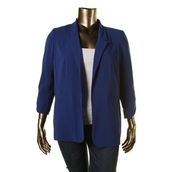 Kensie Womens Boyfriend Blazer Open Front 3/4 Sleeves