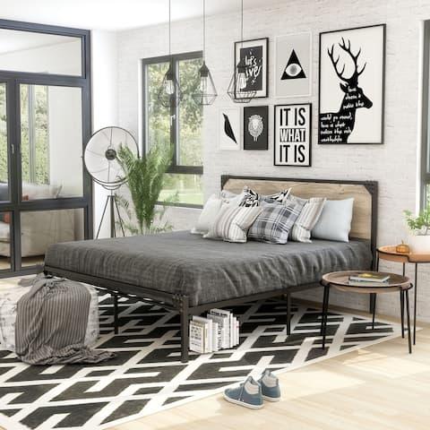 Furniture of America Aramana Industrial Steel Platform Bed