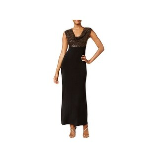 Connected Apparel Womens Evening Dress Metallic Cowl Neck