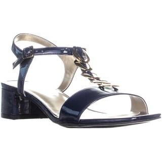 KS35 Iraa Open Toe T-strap Sandals , Navy - 8.5 us