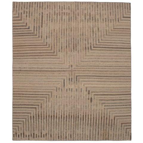 ECARPETGALLERY Flat-weave Izmir FW Tan Wool Kilim - 8'3 x 9'10