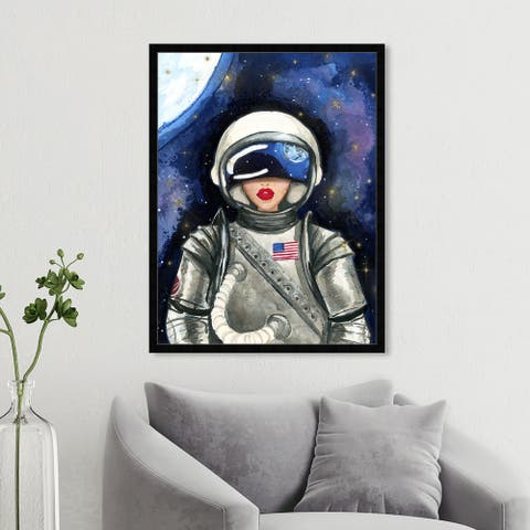 Oliver Gal 'Astronaut Lips' Fashion and Glam Framed Wall Art Prints Lips - Red, Gray