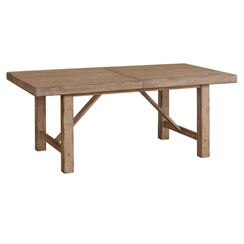 Distressed Blonde Finish Wood Extendable Dining Table