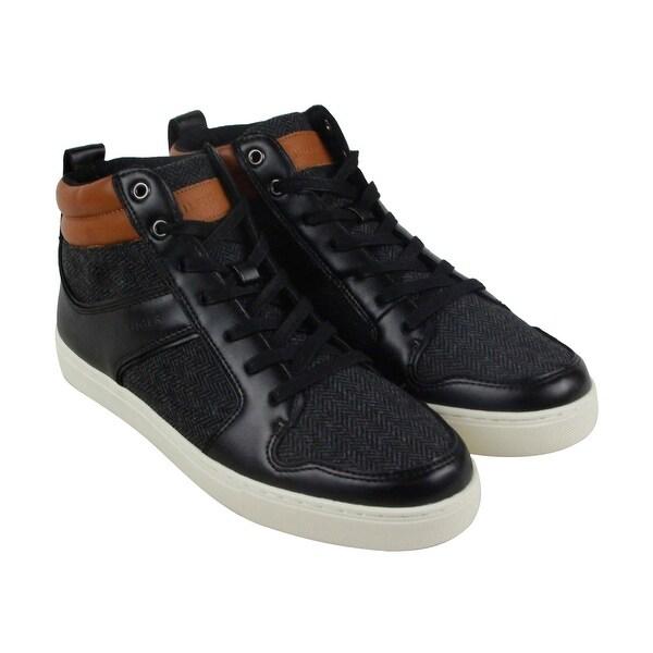 b58d848e4b23b Tommy Hilfiger Martinez Mens Black Leather   Textile High Top Sneakers Shoes