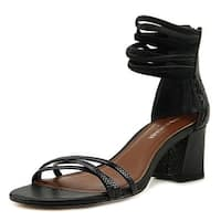 Donald by Donald J Pliner Essie Women Open Toe Leather Black Sandals