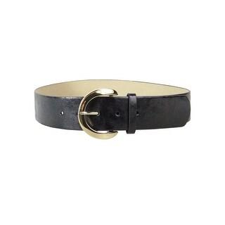 Style & Co. Women's 'C'-Buckle Faux Leather Oversized Belt - Black/Gold - S