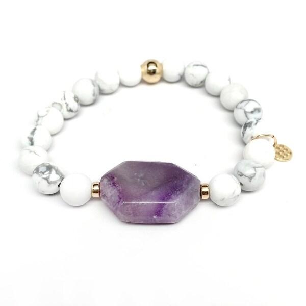 "White Howlite & Purple Amethyst Rock Candy 7"" Bracelet"
