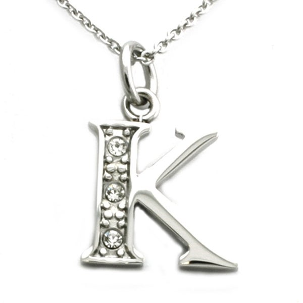 Stainless Steel Alphabet Initial Pendant w/ CZ Stones - Letter K - 18 inches