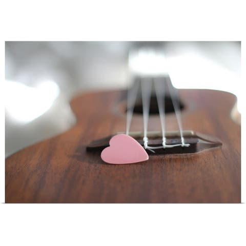"""""""Pink heart on guitar."""" Poster Print"""