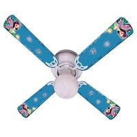 Purple Fairy Print Blades 42in Ceiling Fan Light Kit - Multi