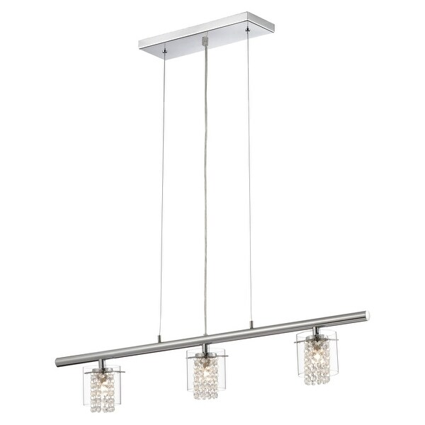 Bazz Lighting LU3823CB Topaz Series Three-Light Down Lighting Chandelier, Finished in Chrome with Glass Beads