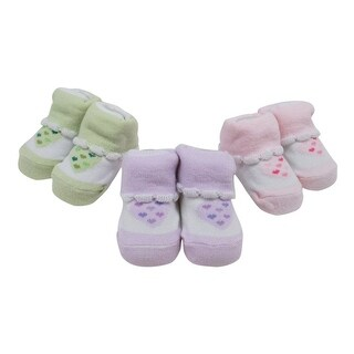 Baby Girls Lavender Green Pink Heart Printed 3 Pairs Assorted Socks