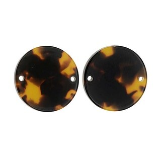 Zola Elements Resin Connector Link, Coin 20mm, 2 Pieces, Brown Tortoise Shell
