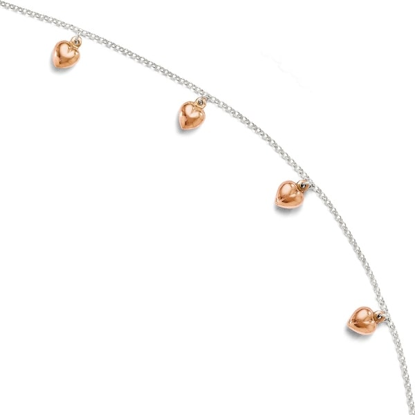 Sterling Silver Rose-tone 18k Flash Plated Anklet Adj. - 9 inches