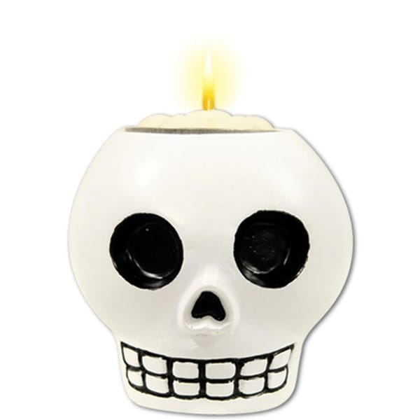 Pack of 6 White & Black Day Of The Dead Decorate-Your-Own-Skull Tea Light Candle Holder 6Oz.