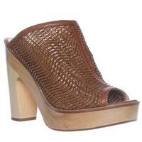 Pour La Victoire Sanya Peep-Toe Mule Pump Heels, Raffia