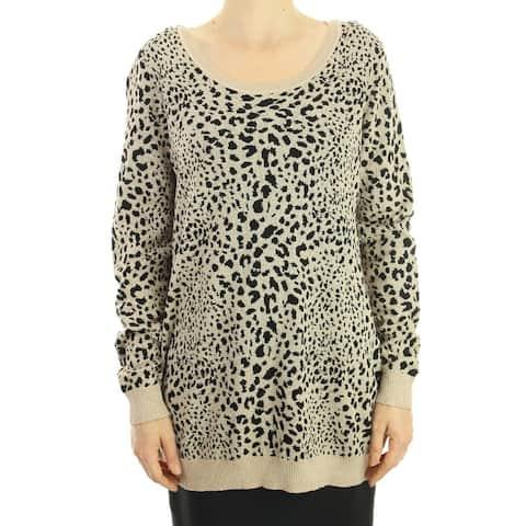 Inc Gold-Black Plus Size Metallic Animal-Print Sweater 1X