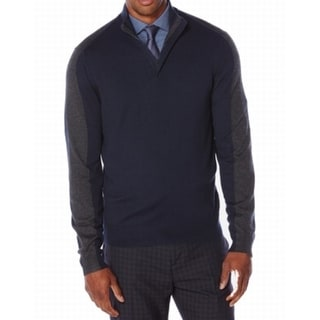 Perry Ellis NEW Navy Blue Gray Mens Size XL Pullover 1/2 Zip Sweater