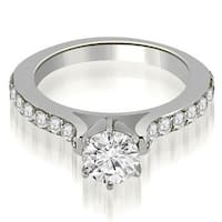1.05 cttw. 14K White Gold Cathedral Round Cut Diamond Engagement Ring