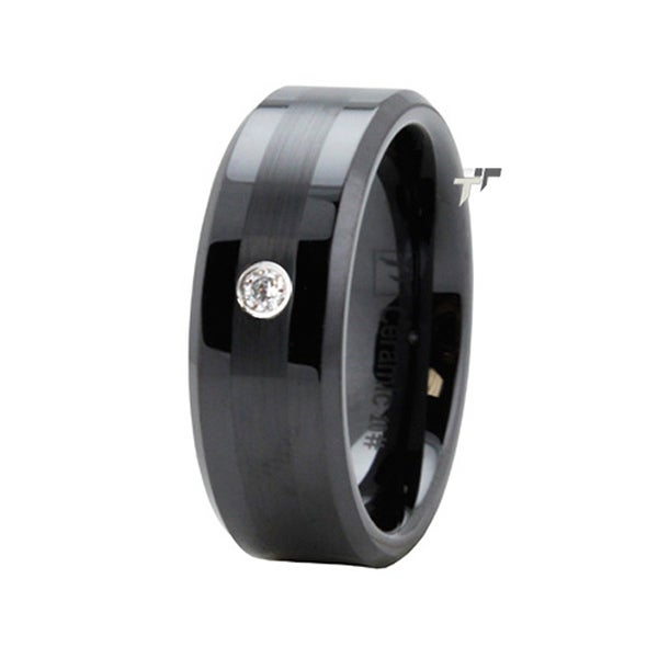Black Ceramic Ring w/ CZ & Satin Finish