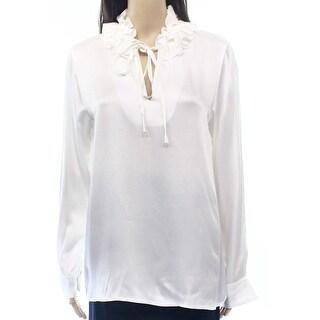 Sonia Rykiel NEW White Ivory Ruffled Tie-Neck Women's Size 40 Blouse