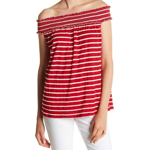 e49c4a84fc2 Shop Max Studio NEW Red Womens Size Medium M Striped Off-Shoulder Knit Top  - Free Shipping On Orders Over $45 - Overstock - 20700508