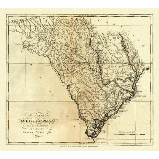 graphic relating to Printable Maps of South Carolina titled Nation Of South Carolina, 1795 as a result of Mathew Carey Maps Artwork Print