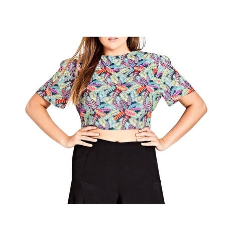 City Chic Women's Green Size 20W Plus Palm-Print Tie-Front Cropped Top