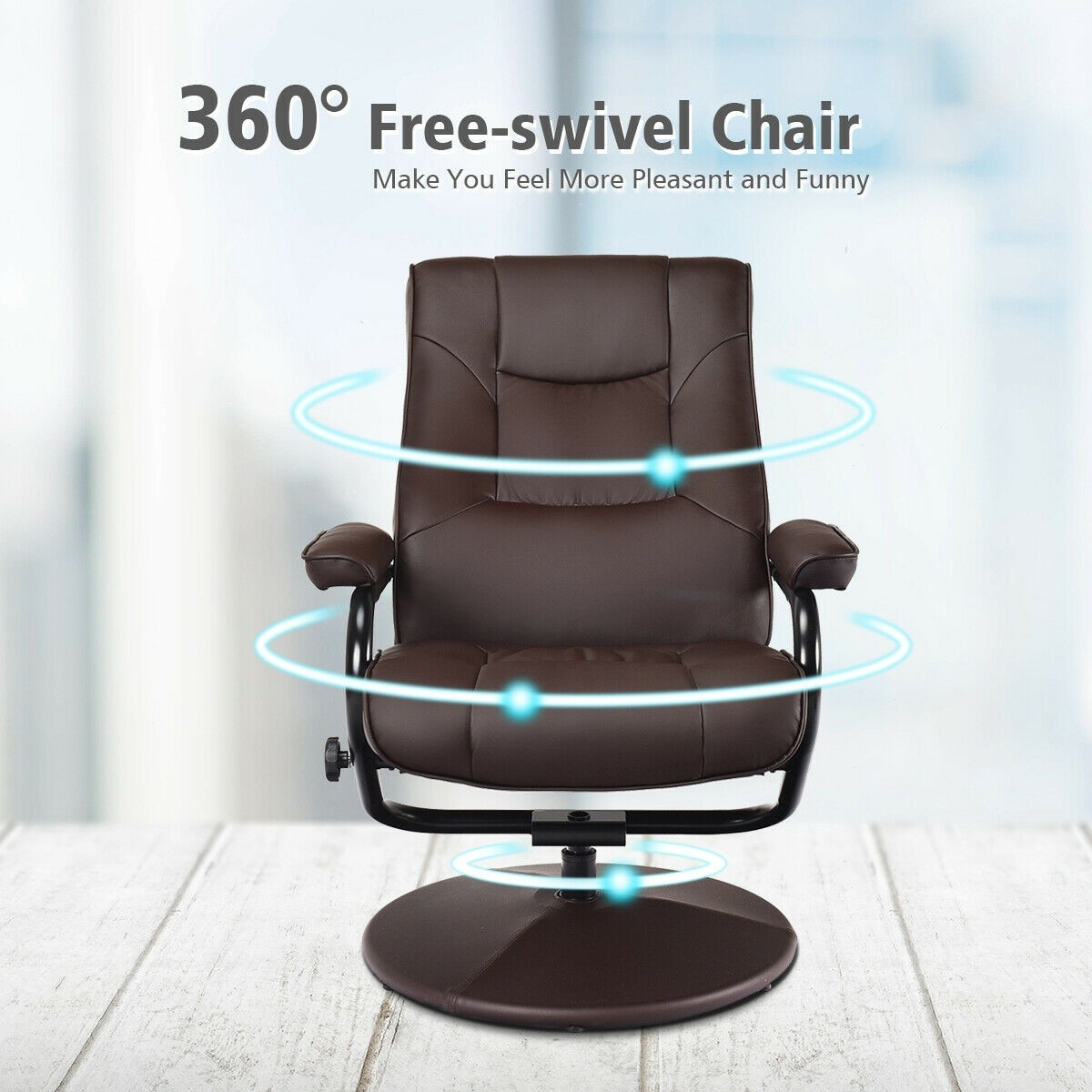 Fabulous Costway Recliner Chair Swivel Armchair Lounge Seat W Footrest Stool Ottoman Home Brown Ncnpc Chair Design For Home Ncnpcorg