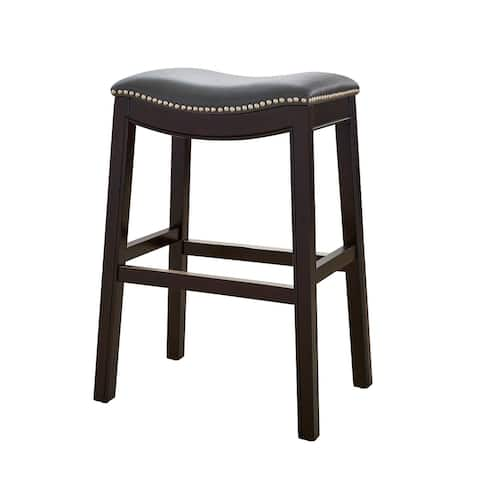 New Ridge Home Goods Julian Counter Height Barstool with Grey Faux Leather seat - N/A