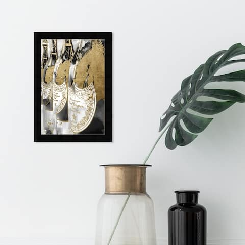Oliver Gal 'Golden Champagne Feast' Drinks and Spirits Wall Art Framed Print Champagne - Gold, White
