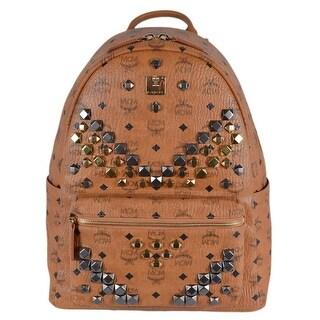 MCM Cognac Brown Studded Coated Canvas Visetos Stark Backpack Bag - Beige