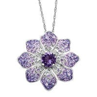 Crystaluxe Flower Pendant with Purple & White Swarovski Crystals in Sterling Silver