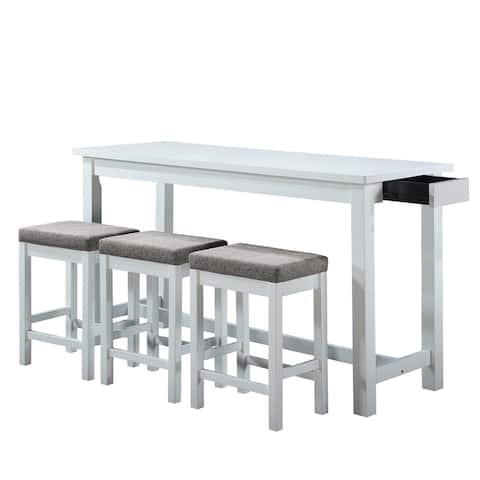 1 Drawer Counter Height Table with Backless Stools,Set of 4,White and Gray