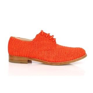 Dolce & Gabbana Orange Raffia Woven Oxfords Broques Shoes - 38.5