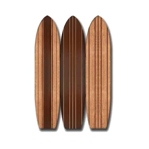 3 Panel Wooden Screen with Surfboard Shape Design, Brown - 71 H x 6 W x 47 L Inches