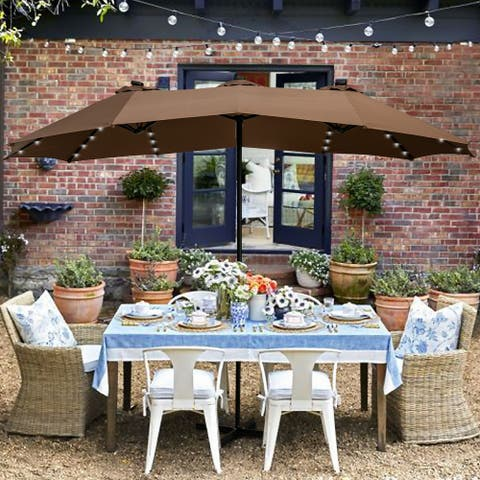 Ainfox 15ft Patio Umbrella with LED Lights Base Not Included
