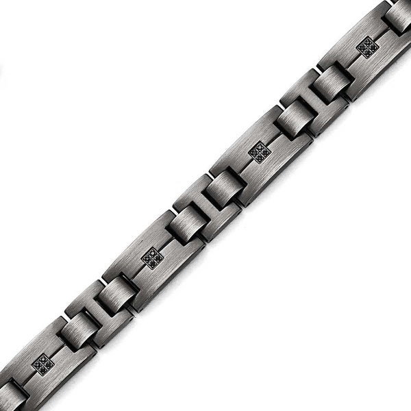 Chisel Stainless Steel Matte/Antiqued 1/10ct.tw Black Diamond Bracelet