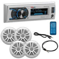 "Boss Marine Single Din Media Receiver with Bluetooth Pair 6.5"" speakers antenna Aux"