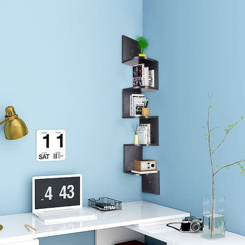 Industrial Corner 5 tiers Wall Shelf Wooden Book Shelf