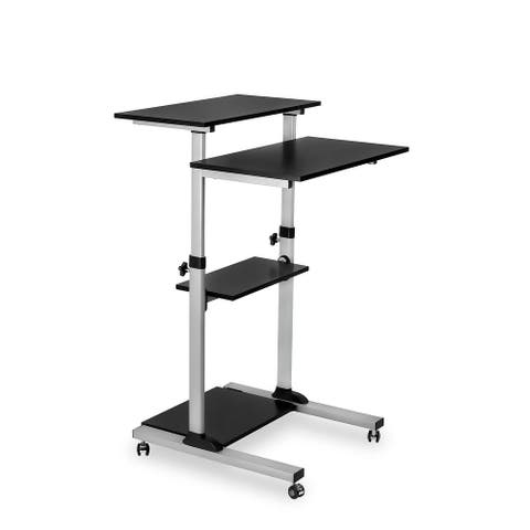 Mount-It! Mobile Stand Up Desk Silver MI-7940