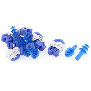 Swimming Protect Silicone Plastic Nose Clip Earplugs Blue 5 Sets