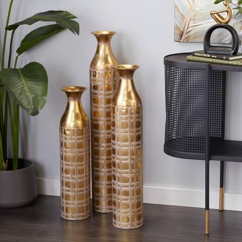 Gold Metal Glam Vase (Set of 3) - 6 x 6 x 35