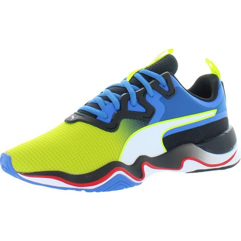 Puma Mens Zone XT Multi Running Shoes Knit Fitness - Yellow Alert/Palace Blue