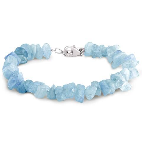 Sterling Silver Aquamarine Beaded Bracelet