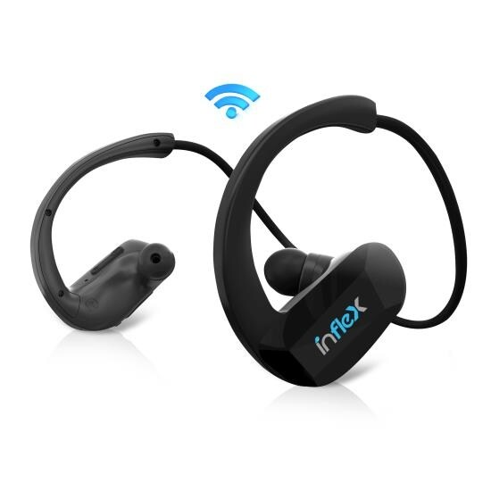 InFlex 2-in-1 Waterproof Bluetooth MP3 Player Headphones, Built-in Mic for Hands-Free Calls